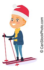 Isolated Smiling Boy Skiing on White Background