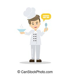 Isolated smiling chef.