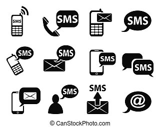 sms icons set - isolated sms icons set from white background