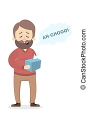 Isolated sneezing man. - Isolated sneezing man with flu and...