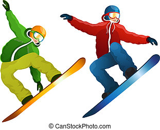 Isolated snowboarder - Vector illustration snowboarders on a...