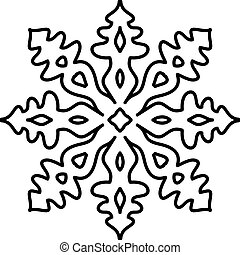 Isolated snowflake pattern on white background.