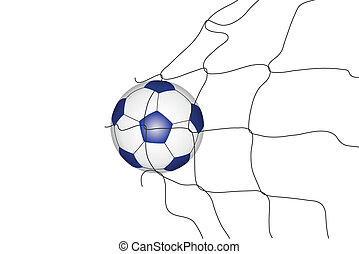 Isolated soccer ball in the goal ne