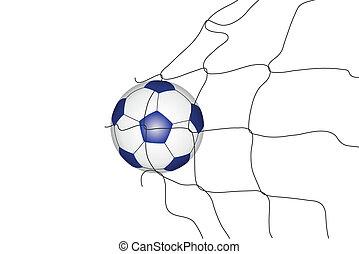 Isolated soccer ball in the goal ne