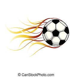 Isolated soccer ball with a fire effect