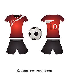 Isolated soccer uniform on a white background, Vector...