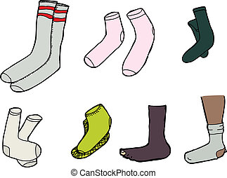 Isolated Socks - Various socks cartoons on isolated white...