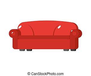 isolated., sofa, couch, groß, hintergrund, groß, weißes, weich, rotes