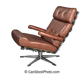 Isolated soft brown leather stylish chair - clipping path
