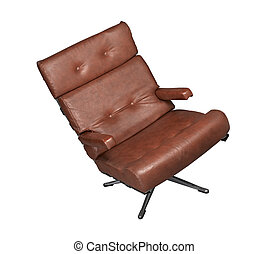 Isolated soft brown leather stylish chair