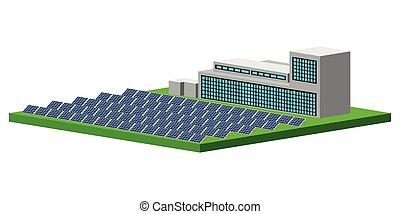 Isolated solar power plant. Vector illustration design