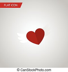 Isolated Soul Flat Icon. Wings Vector Element Can Be Used For Feeling, Heart, Wings Design Concept.