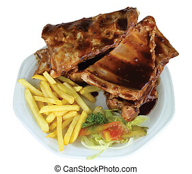 Spareribs and Fries on White Plate VB