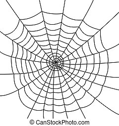 Isolated spider web - Creepy spider web over a white...
