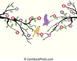 spring birds tree flower background