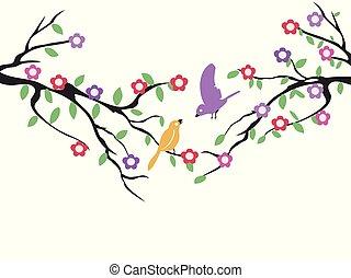spring birds tree flower background