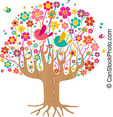 Isolated spring time tree