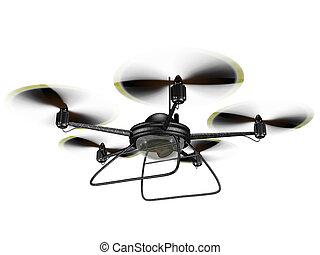 Isolated Spy Drone - Isolated illustration of a hovering spy...