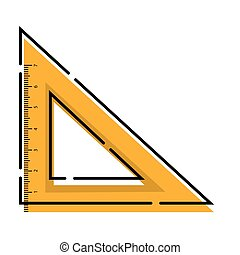 Isolated square ruler icon. School supplies icon - Vector