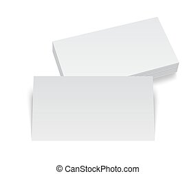 Isolated stack of blank business card on white with soft shadows