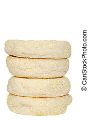 stack of english muffins