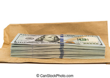 Isolated stack of hundred dollar bills on top of envelope