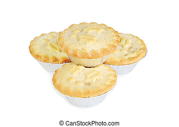 isolated stack of mincemeat christmas pies