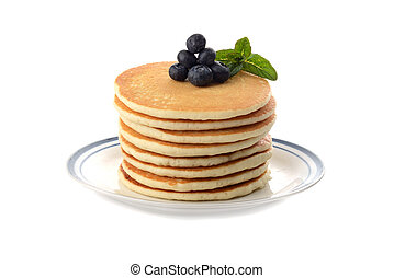stack of pancakes on a plate on white
