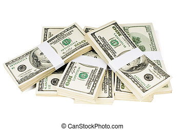 Isolated Stacks of Money - Huge stack of prop money. Bundled...