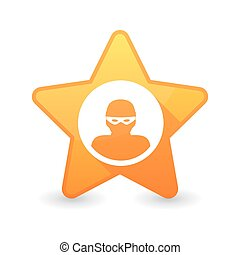 Isolated star icon with a thief sign