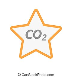 Isolated star icon with    the text CO2