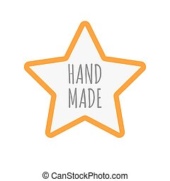 Isolated star icon with the text HAND MADE