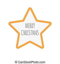 Isolated star icon with    the text MERRY CHRISTMAS