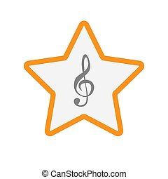 Isolated star with a g clef - Illustration of an isolated...