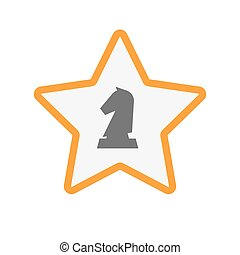 Isolated star with a knight chess figure