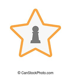 Isolated star with a  pawn chess figure