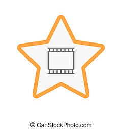 Isolated star with   a photographic 35mm film strip