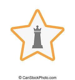 Isolated star with a  queen   chess figure