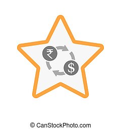 Isolated star with  a rupee and dollar exchange sign