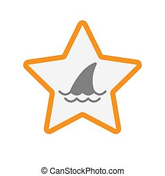 Isolated star with a shark fin