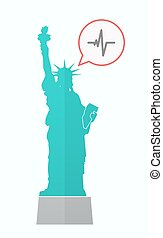 Isolated Statue of Liberty with a heart beat sign
