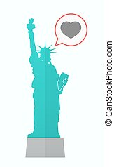 Isolated Statue of Liberty with a heart