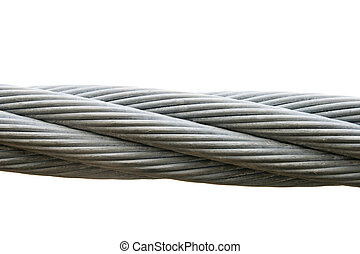 isolated steel cable - steel cable isolated on a white...