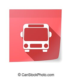 Isolated sticky note with  a bus icon