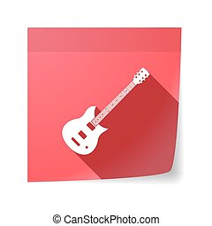 Isolated sticky note with  an electric guitar