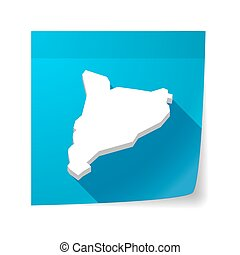 Isolated sticky note with the map of Catalonia