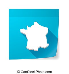 Isolated sticky note with the map of France