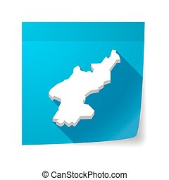 Isolated sticky note with the map of North Korea