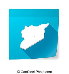 Isolated sticky note with the map of Syria