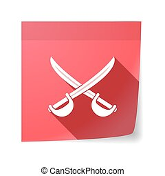Isolated sticky note with  two swords crossed